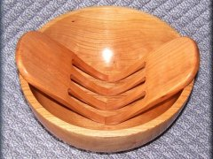 Wooden Bowl and Salad Hands
