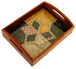 decorative wooden floral motif tray - Decorative Trays